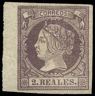Ed. * 56 - 2 Reales. Borde Hoja. Lujo. Cert. GRAUS. Cat. ++510€ - 1850-68 Royaume: Isabelle II