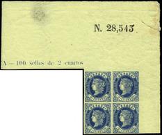 Ed. ** 57 Bl. 4 - 2 Cuartos Azul. Esquina Pliego Con Numeración Y Leyenda.Escaso En Esta Condición - 1850-68 Koninkrijk: Isabella II