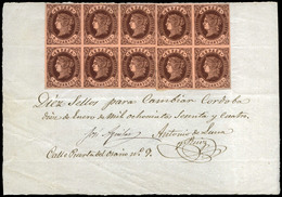 Ed. 58 (10) - 4 Cuartos. Documento De Canje Con 10 Ejemplares, Por Cambio Emisión Fechador 10/1/1864 - 1850-68 Royaume: Isabelle II