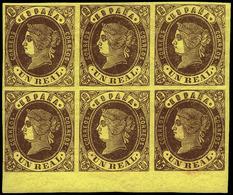 Ed. ** 61 Bl. 6 - 1 Real. Borde Inferior Pliego. Preciosa Y Rara Pieza En Esta Condición. Cat.++800€ - 1850-68 Koninkrijk: Isabella II