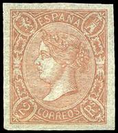 Ed. ** 73A - 2 Reales Salmón. Precioso Por Sus Amplios Márgenes, Color Intenso Y Goma Original. Cert. GRAUS - 1850-68 Royaume: Isabelle II