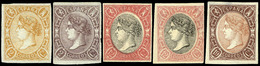Ed. * 73A - Conjunto De 5 Ensayos De Plancha En Distintos Valores Y Colores (2 Valores 2 Cuartos, 2 Valores…) - 1850-68 Koninkrijk: Isabella II
