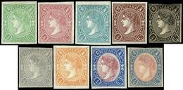 Ed. * 73A - Conjunto De 9 Ensayos De Plancha En Distintos Colores Del Valor 4 Cuartos.Precioso - 1850-68 Royaume: Isabelle II