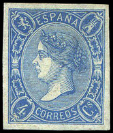 Ed. * NE 2 - 4 Cuartos Azul. No Emitidos. S/Dentar. Ejemplar De Lujo. Raro En Esta Condición. Cert. CEM. Cat. +3.500€ - 1850-68 Royaume: Isabelle II