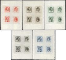 5 Pruebas - Cojunto De 5 Pruebas De Punzón, Proyecto No Adoptado En 5 Colores (negro, Azul, Rojo, Castaño, Verde) - 1850-68 Royaume: Isabelle II