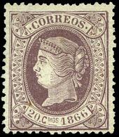 Ed. * 86 - 20Cts. Escudo. Muy Bonito Por Su Buen Centraje Y Color Fresco.Raro Ejemplar Nuevo Cert. SORO - 1850-68 Koninkrijk: Isabella II