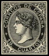 Galvez 426 - 19 Cuartos. Prueba De Punzón Con Márgenes Pequeños. 19 Cuartos Negro. Pieza De Gran Raeza - 1850-68 Koninkrijk: Isabella II