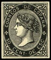 * Galvez 428 - Prueba De Punzón Con Márgenes Pequeños. 10 Cts. De Escudo, Negro. Rara Pieza - 1850-68 Royaume: Isabelle II