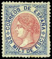 Ed. * 95 - 25 Mils. Azul Y Rosa. Precioso Ejemplar Por Su Color Fresco Y Precioso Centraje. Raro En Esta Condición - 1850-68 Royaume: Isabelle II