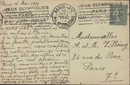 CP Versailles Jeux Olympiques Paris XIV Av D'Orléans 16 Mai 24 Flamme Krag Jeux Olympiques Paris Mai Juin Juillet 1924 - Marcophilie (Lettres)