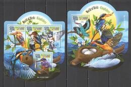 ST498 2015 SIERRA LEONE FAUNA BIRDS KINGFISHERS 1KB+1BL MNH - Altri