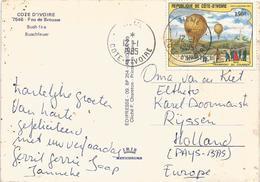 Cote D'Ivoire 1985 Tieme Balloon Postal Transport Guerre Franco-allemande 1870 Viewcard - Luchtballons