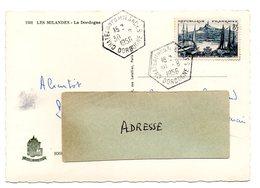 DORDOGNE - Dépt N° 24 = CHATEAU DES MILANDES 1956 = CACHET HEXAGONAL E7 = RAR / RECETTE AUXILIAIRE RURALE - Manual Postmarks