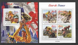 ST526 2015 SIERRA LEONE SPORTS CYCLING TOUR DE FRANCE 1KB+1BL MNH - Ciclismo
