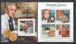 ST537 2015 SIERRA LEONE FAMOUS PEOPLE ALEXANDER FLEMING AND MEDICINAL MUSHROOMS 1KB+1BL MNH - Pilze