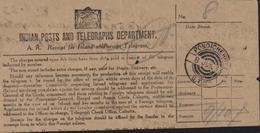 Inde Française Formulaire Télégramme Indian Posts Aand Telegraphs Departement Pondichéry 8 Jun 33 GTD Bureau Français - Cartas