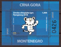 Montenegro 2018 Winter Olympic Games PyeongChang, South Korea, Tiger, Block, Souvenir Sheet MNH - Winter 2018: Pyeongchang