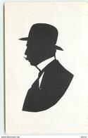 Silhouette N°3 -  Homme Avec Moustache Portant Un Chapeau Melon - Silhouette - Scissor-type