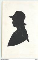 Silhouette N°8 -  Jeune Femme Cheveux Longs Portant Un Chapeau - Silhouette - Scissor-type