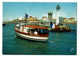 """Palavas Les Flots - L'entrée Du Port (bateau D'excurtion """"Saint Michel"""" Phare, Château D'eau) Circ 1967, Flamme Illustré - Palavas Les Flots"""