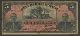(Haïti) Rare Billet De 5 Gourdes 1908 . En Prime, Billet D'une Gourde 1919 . - Haiti