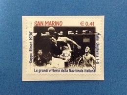 2002 SAN MARINO CALCIO MONDIALI COPPA RIMET 1938 FRANCOBOLLO USATO STAMP USED - Used Stamps