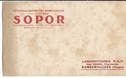 88 - Rambervillers - Buvard Publicitaire - Laboratoire P.A.P. - Produits Pharmaceutiques