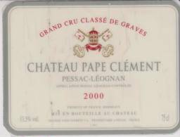 Etiquette De Vin - Plastifiée - BORDEAUX - PESSAC - LEOGNAN - CHATEAU PAPE CLEMENT - 2000 - Bordeaux