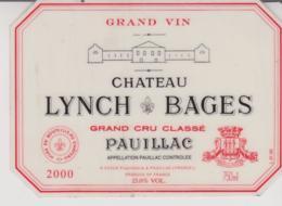 Etiquette De Vin - Plastifiée - BORDEAUX - PAUILLAC - CHATEAU LINCH BAGES - 2000 - Bordeaux