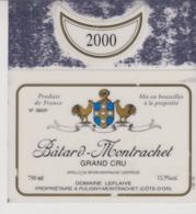 Etiquette De Vin - Plastifiée - BATARD-MONTRACHET - DOMAINE LEFLAIVE - 2000 - Bourgogne