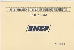 Encart Illustré Nos Gares De Province ( Figeac Sens Provins Etc ) SNCF Exposition Cheminots Philatélistes PARIS 1983 - Trains