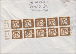348y Hl. Elisabeth 10x 7 Pf. Oberrand-10er-Block MeF Auf R-Brief TREBUR 17.7.63 - Non Classificati