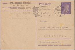 P 299I Mit Werbe-O Vollkornbrot: Besser Und Gesünder! Wien 15.10.42 N. Salzburg  - Agricoltura