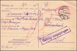 Infla-Notausgabe Gebühr-bezahlt Postkarte Gelocht FLENSBURG 3.9.1923 Nach Kiel - Allemagne