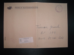 LR P ET T OBL. ROUGE 21-10 1982 70 VESOUL RP HAUTE-SAONE + Griffe Rouge + étiquette - Storia Postale