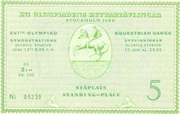 Ticket-entrada Olympic,  Stockholm 1956, Equestrain Games ( Perfect ). - Sonstige