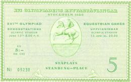 Ticket-entrada Olympic,  Stockholm 1956, Equestrain Games ( Perfect ). - Juegos Olímpicos
