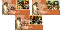 """(Faciale = 7 €) """" SINGES MENACES D'EXTINCTION """" Sur 3 Enveloppes 1er Jour De 2007 De L'ONU.  Parfait état. FDC - Monkeys"""