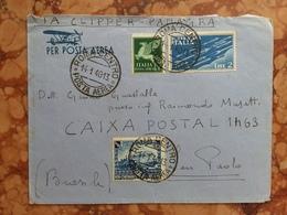 REGNO - Aerogramma Spedito In Brasile - Con Annullo Arrivo (busta Difettosa Retro) + Spese Postali - 1900-44 Vittorio Emanuele III