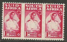 South Africa - 1944 Nurse 1d Bilingual Strip MNH **   SG 98a (Af-En-Af) - Unused Stamps
