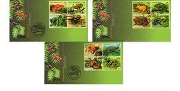 """(Faciale = 7 €) """" REPTILES BATRACIENS MENACES D'EXTINCTION """" Sur 3 Enveloppes 1er Jour De 2006 De L'ONU.  Parf état. FDC - Reptiles & Batraciens"""