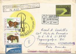 Lithuania 1996 Druskininkai WWF European Bison Bison Bonasus Registered Cover To Honduras - W.W.F.