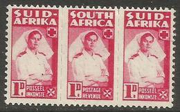 South Africa - 1944 Nurse 1d Bilingual Strip MH *   SG 98a (Af-En-Af) - South Africa (...-1961)