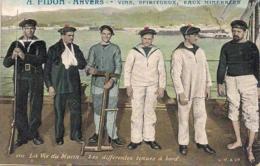 """ANVERS-ANTWERPEN """" LA VIE DE MARIN-LES DIFFERENTES TENUES-DIVERSE KLEDING AAN BOORD-RECLAME A.FIDON,VINS ETC""""AQUA PHOTO - Antwerpen"""