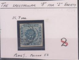 Danimarca 1854 2 S. Michel  N.3 Us VARIETA Vedere Scansione - 1851-63 (Frederik VII)