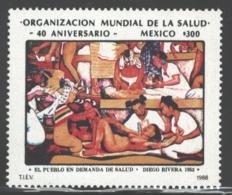 Mexico - Mexique 1988 Yvert 1232, 40th Anniversary Of The World Health Organization / WHO - Diego Rivera Painting - MNH - México