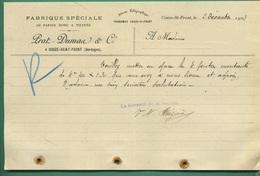 24 Couze Saint Front Prat Dumas Fabrique Spéciale De Papiers Rond A Filtrer 2 Décembre 1903 - Printing & Stationeries