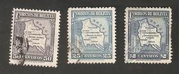 Bo4-9-1. America Correos De BOLIVIA 2 25 50 Centavos 1935 Airmail Map Of Bolivia Set - Bolivia