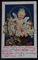 Art Postcard, Little Angel In A Flower Basket Next To Easter Bunny, Ange, Engel - Angeli