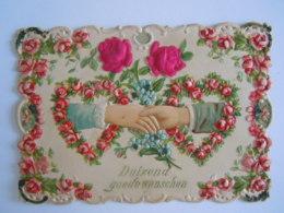 Mignonnette Ajourée Voeux Mains  Fleurs Roses En Tissu Relief Mignonette 11 X 7,5 Cm - Fancy Cards